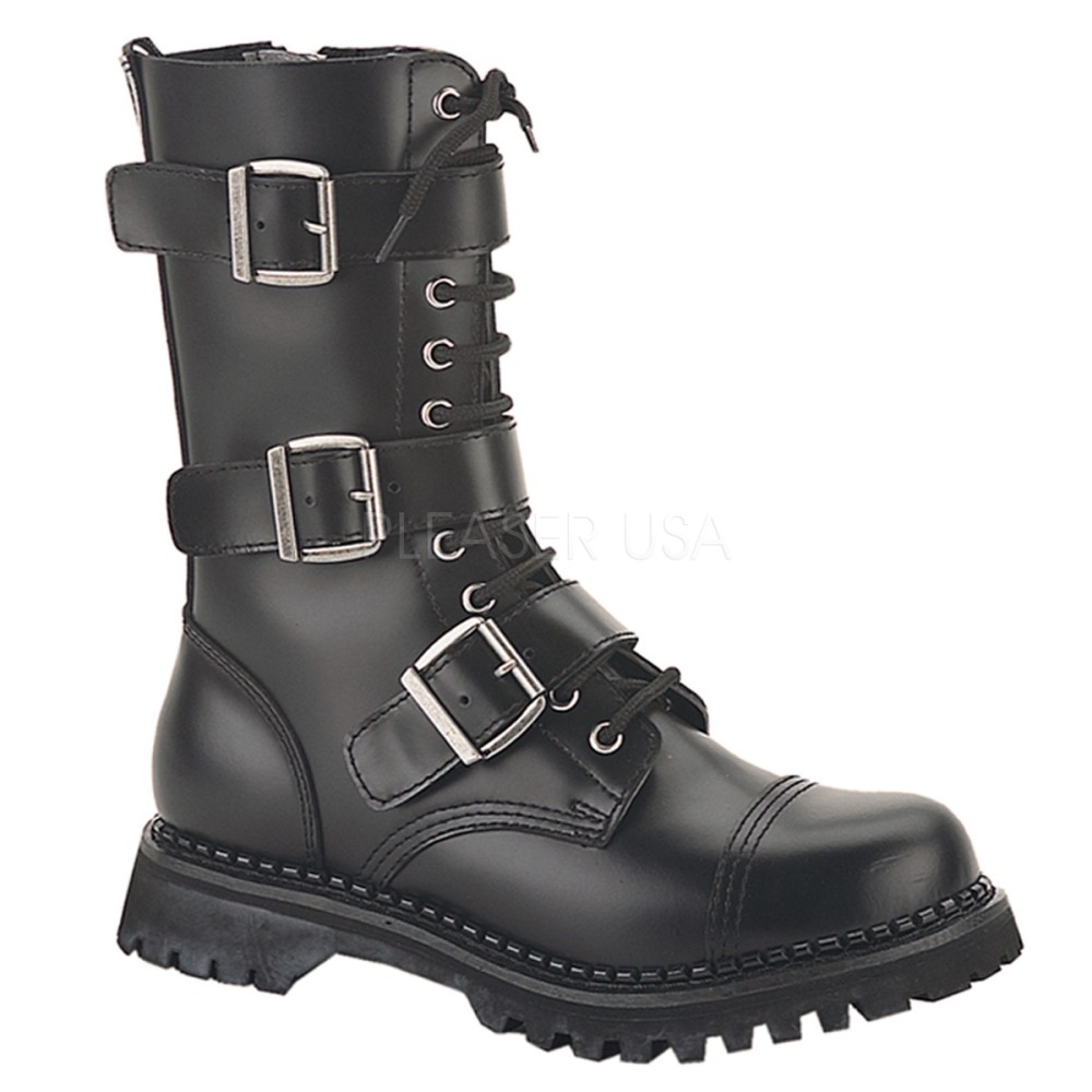 Demonia - Mens RIOT-12 Leather Shoes & Boots