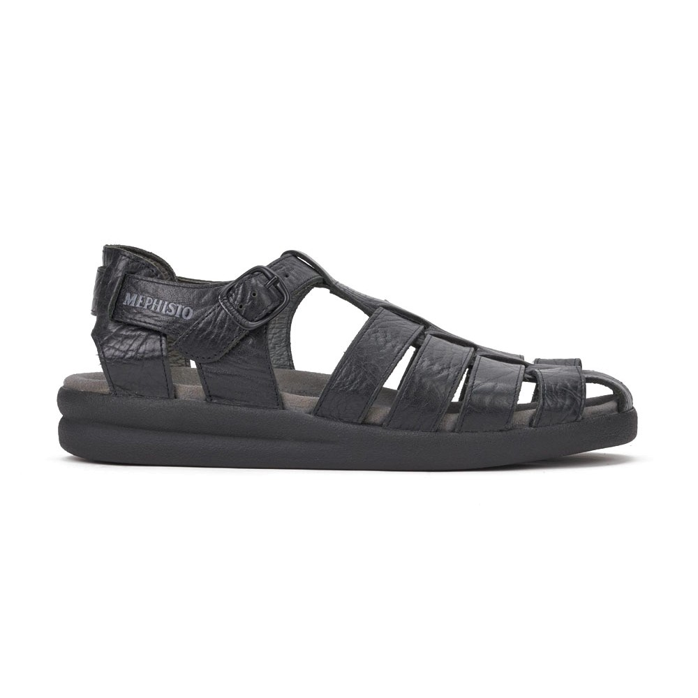 21d0193ee95 MEPHISTO - Mens Sam Black Crinkled Leather Sandals